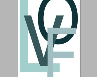 LOVE Wall Art Nursery Decor - 11x17 Large Modern Typography Print - CHOOSE Your COLORS