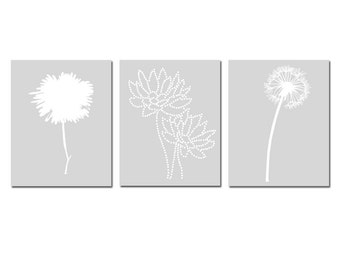 Modern Floral Art Trio - Set of Three 8x10 Coordinating Floral Silhouette Prints - Choose Your Colors - Shown in Pale Gray, Yellow, and More