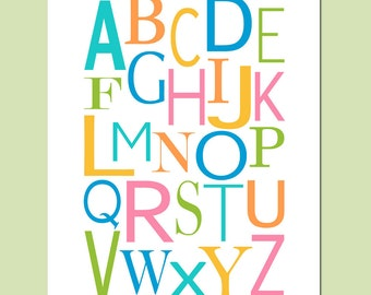 Modern Alphabet Nursery Decor - 11x14 Print - Kids Wall Art Art for Nursery or Playroom - CHOOSE YOUR COLORS