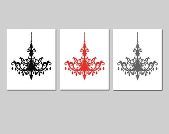 Modern Chandelier Trio - Set of Three Coordinating 8x10 Chandelier Prints - CHOOSE YOUR COLORS - Shown in Black, Gunmetal Gray, Red