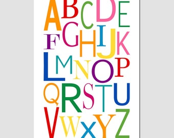 Modern Alphabet - 11x17 Print - Kids Wall Art for Nursery - CHOOSE YOUR COLORS - Shown in Multicolor