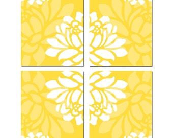 Large Scale Floral Kaleidoscope Art Quad - Set of Four 8x10 Flower Prints - CHOOSE YOUR COLORS - Shown in Lemon Yellow, Apple Green, Aqua