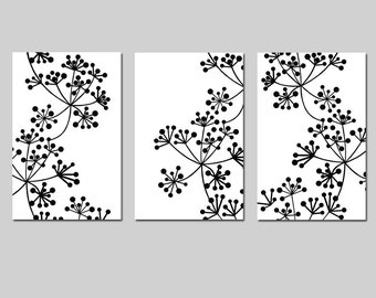 Modern Wall Art - Botanical Trio - Set of Three 11x17 Coordinating Floral Prints - CHOOSE YOUR COLORS - Shown in Black and White