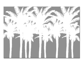 Palm Tree Silhouette - 13x19 Poster Size Print - Tropical Island Decor - CHOOSE YOUR COLORS - Shown in Sage Green, Navy Blue, Gray and More