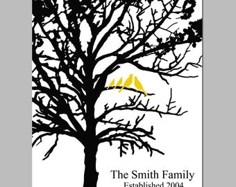 Family Established Personalized Print - 11x14 - Birds in a Tree - Your Choice of Colors, Names, and Date - GREAT GIFT