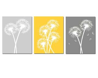 Modern Dandelion Trio - Set of Three 11x14 Coordinating Floral Prints - CHOOSE YOUR COLORS - Shown in Pale Gray, Gunmetal, Yellow, White