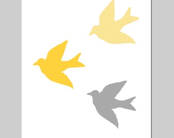 Baby Birds - 8x10 Bird Silhouette Print - Modern Nursery Decor - CHOOSE YOUR COLORS - Shown in Gray and Yellow, Orange, Green, and More
