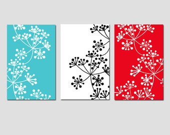 Modern Decor Botanical Trio - Set of Three Coordinating Floral Prints - CHOOSE YOUR COLORS - Shown in Black, White, Red, Turquoise