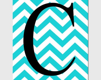Monogrammed Letter Customized Initial - 8x10 Print - Chevron Design Pattern - Nursery - CHOOSE YOUR COLORS - Shown in Yellow, Aqua, and More