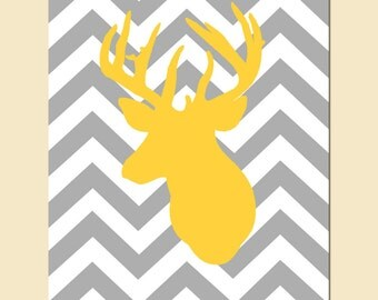Modern Chevron Deer Head Silhouette Print - 8x10 Chevron Zig Zag - CHOOSE YOUR COLORS - Shown in Gray, Yellow, Baby Blue, and More