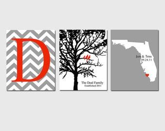 Modern Family Trio - Set of Three 8x10 Customizable Prints - Chevron Monogram, Family Tree, Love State Map - GREAT WEDDING GIFT