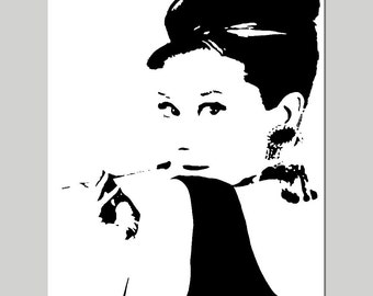 Audrey Hepburn - 8x10 Silhouette Image Print - CHOOSE YOUR COLORS - Teen, Girl - Shown in Black, White, Pink, Yellow, Gray, and More