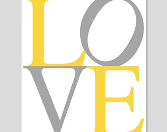 LOVE - 11x14 Modern Typography Print - Kids Wall Art - Nursery Art - Choose Your Colors - Shown in Yellow, Gray and More