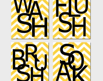 Kids Bathroom Wall Art Print Set - Pick THREE 11x14 Chevron Prints - Wash, Brush, Soak, Splish, Splash, Flush, Floss - Choose Your Colors