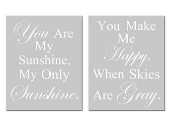 You Are My Sunshine, My Only Sunshine- Set of Two 11x14 Nursery Art Prints - CHOOSE YOUR COLORS