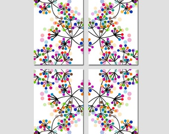 Colorful Botanical Dots Quad - Set of Four Large Coordinating 11x17 Prints - Kaleidoscope Effect