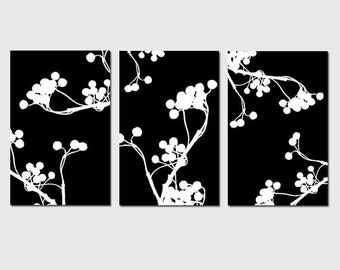 Modern Decor Botanical Trio - Set of Three 11x17 Prints - CHOOSE YOUR COLORS - Shown in Black, White, Gray and More