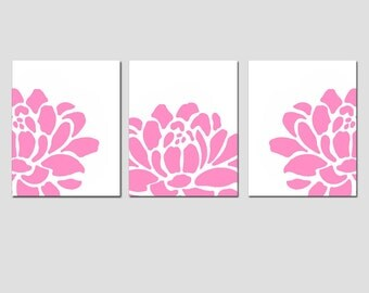 Floral Trio - Set of Three 11x14 Art Prints - Modern Nursery Wall Decor - CHOOSE YOUR COLORS - Shown in Pink, Yellow, Gray, and More