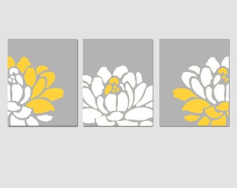 Flower Wall Art Flower Wall Decor Set Of 3 Prints   Shown In Yellow And Gray Part 74