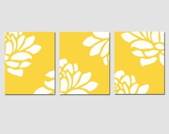 Modern Floral Trio - Set of Three 8x10 Prints - CHOOSE YOUR COLORS - Shown in Yellow, Orange, Pink, Aqua, and More - Modern Nursery Decor