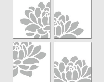Floral Art Quad - Set of Four Coordinating 11x14 Prints - CHOOSE YOUR COLORS - Shown in Gray, Aqua, Pink, Pea Green, and More