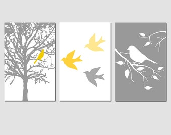 Modern Bird Trio - Set of Three 13x19 Prints - Nursery Art Prints - CHOOSE YOUR COLORS - Shown in Gray, Yellow, Black, and More