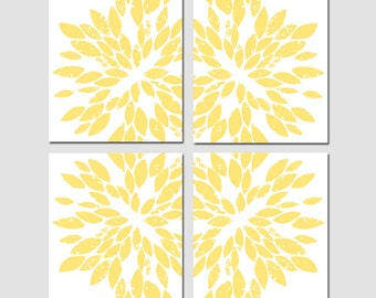 Large Scale Abstract Floral Kaleidoscope Art Quad - Set of Four 11x14 Prints - CHOOSE YOUR COLORS - Shown in Soft Yellow, Gray, and More
