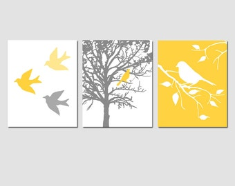 Modern Bird Trio - Set of Three 11x14 Prints - Birds, Branches, Trees - Nursery Art - CHOOSE YOUR COLORS - Shown in Yellow, Gray, and More