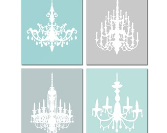 Modern Chandelier Art Quad - Set of Four 8x10 Coordinating Prints - Girl - CHOOSE YOUR COLORS - Shown in Gray, Aqua, Pink, and More