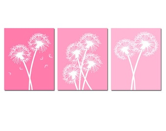Modern Dandelion Flower Floral Art Trio - Set of Three 8x10 Coordinating Prints - CHOOSE YOUR COLORS - Shown in Pink, Aqua Blue and More
