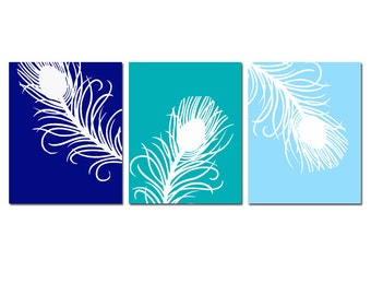 Modern Peacock Feather Trio - Set of Three 8x10 Silhouette Prints - CHOOSE YOUR COLORS - Shown in Navy Blue, Turquoise, Baby Blue, and More