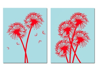 Modern Dandelion Duo - Set of Two Dandelion Floral 11x14 Coordinating Prints - Choose Your Colors - Shown in Red and Soft Aqua Blue