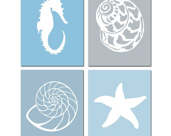 Shell Bathroom Art Seashell Bathroom Decor Nautical Beach Bathroom Art Set of 4 Prints - Seashell, Starfish, Seahorse - CHOOSE YOUR COLORS