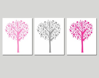 Tree Dot Trio - Set of Three 8x10 Prints - Modern Nursery Decor - CHOOSE YOUR COLORS - Shown in Yellow, Gray, Pink and More
