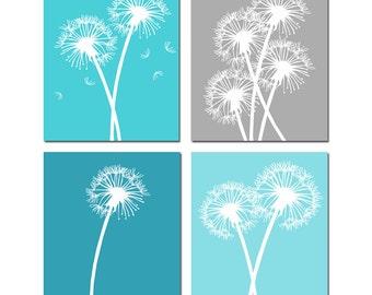 Dandelion Floral Art Quad - Set of Four Coordinating 8x10 Prints - CHOOSE YOUR COLORS - Shown in Aqua, Blue, Gray, Purple, Brown, and More
