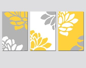 Floral Trio - Set of Three 11x17 Prints - Modern Floral Wall Art - CHOOSE YOUR COLORS - Shown in Gray, Yellow, White