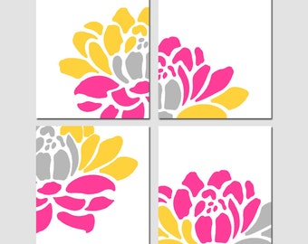Floral Art Quad - Set of Four 11x14 Floral Prints - Modern Wall Art - Choose Your Colors - Shown in Pink, Gray, Yellow, Orange, and More