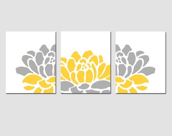 Floral Trio - Set of Three 11x14 Prints - Modern Wall Art - CHOOSE YOUR COLORS - Shown in Gray, Yellow, Pink, Black, and More