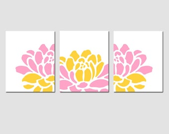 Floral Trio - Set of Three 8x10 Prints - Modern Wall Art - CHOOSE YOUR COLORS - Shown in Pink, Yellow, Gray and More