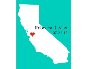 Personalized Love State Map 11x17 Custom Print - Wedding Poster, Guestbook, Anniversary Gift, Engagement, Housewarming