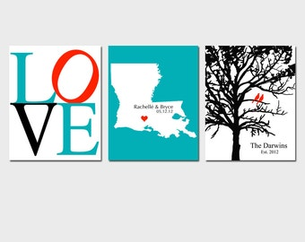 Modern Newlywed Trio - Set of Three 11x14 Customizable Prints - Love, Family Established Bird Tree, Love State Map - GREAT WEDDING GIFT