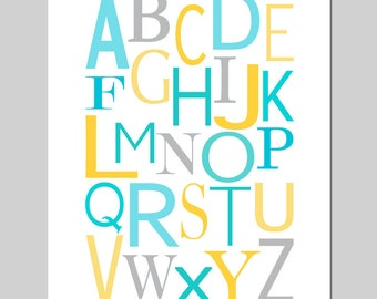 Modern Alphabet - 11x14 Print - Kids Wall Art for Nursery or Playroom - CHOOSE YOUR COLORS - Shown in Blue, Aqua, Gray, Yellow, and More