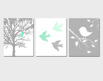 Modern Bird Trio - Kids Wall Art for Nursery - Set of Three 8x10 Prints - CHOOSE YOUR COLORS - Shown in Mint Green, Gray, Yellow, and More