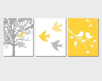 Modern Bird Trio - Set of Three 8x10 Nursery Prints - Bird in Tree, Baby Birds - CHOOSE YOUR COLORS - Shown in Yellow, Gray, and More