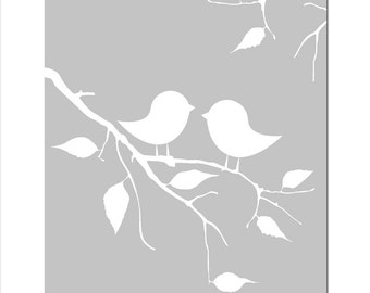 Baby Birds on a Twig - 8x10 Silhouette Print - Modern Nursery Decor - CHOOSE YOUR COLORS - Shown in Pale Gray, Yellow and More