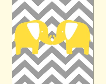 Modern Chevron Elephant Silhouette Nursery Art Print - 8x10 - CHOOSE YOUR COLORS - Shown in Gray, Yellow, Aqua, Pink, and More