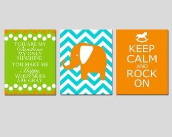 Modern Nursery Art Trio - Set of Three 11x14 Prints - You Are My Sunshine, Chevron Elephant, Keep Calm and Rock On - CHOOSE YOUR COLORS