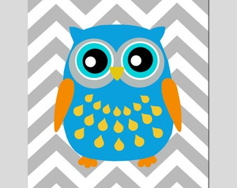 Modern Chevron Owl Silhouette Print - 11x14 - Kids Wall Art - CHOOSE YOUR COLORS - Shown in Gray, Yellow, and More
