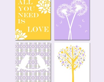 Nursery Art Quad - Set of Four 11x14 Prints - Love Birds, All You Need Is Love, Tree Dot, Dandelion Floral - Shown in Purple, Yellow, Gray