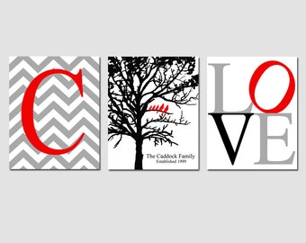 Family Love - Set of Three 5x7 Prints - Chevron Monogram Initial, Family Established Birds Tree, Love - Home Wall Art - GREAT WEDDING GIFT